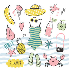 big summer set vector image