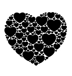 Black hearts isolated vector