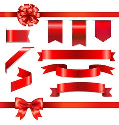 Red Bow With Ribbons Set vector image