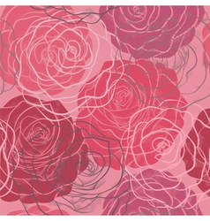 seamless pattern in red and pink roses vector image