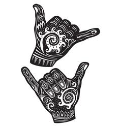 Shaka surf hand sign vector image vector image