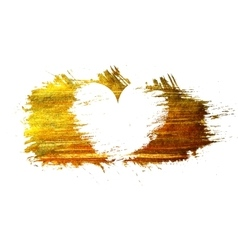 White heart on a gold stain background vector