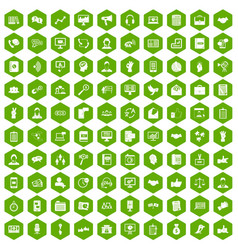 100 dialog icons hexagon green vector