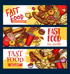 fast food restaurant menu banners vector image vector image