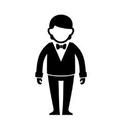 Silhouetted Man in Black Suit with Bow Tie vector image vector image