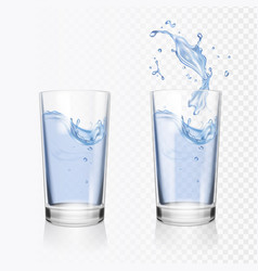 transparent glass of water realistic vector image