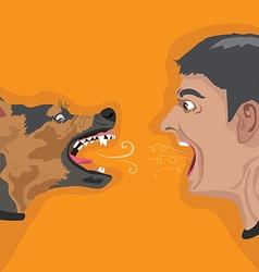 Angry man angry dog vector