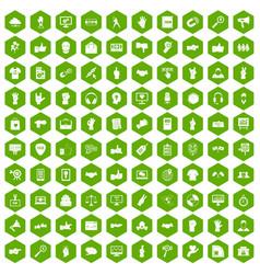 100 different gestures icons hexagon green vector image vector image