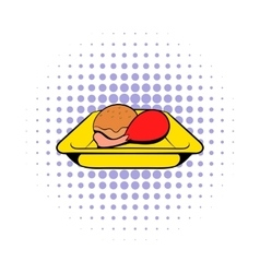 Airplane lunch icon comics style vector