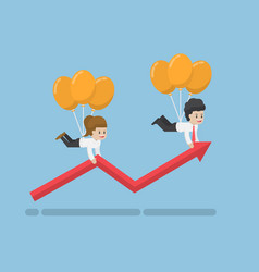 businessman flying up on balloon and help graph vector image vector image