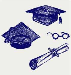 Graduation cap points and diploma vector image vector image