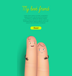 happy friendship day finger card vector image vector image