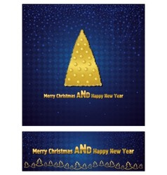 New Year and Christmas background with a gold tree vector image