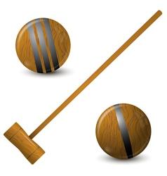 Wooden hammer and croquet balls vector image