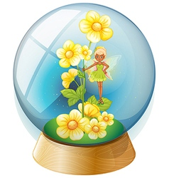 A crystal ball with pink flowers and a fairy vector image