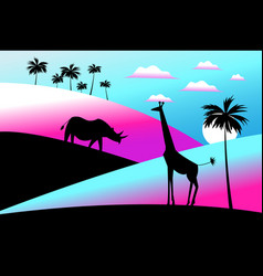 africa with animal vector image