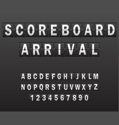 alphabet on scoreboard set of white letters of vector image