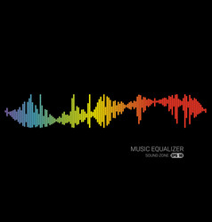 Audio color wave logo pulse music player on black vector