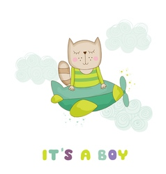 Baby Shower Card - Baby Cat Flying on a Plane vector
