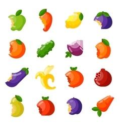 Bitten fruits set vector image