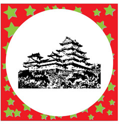Black 8-bit himeji castle isolated vector