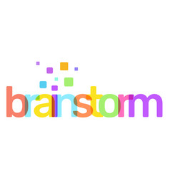 brainstorm text colored rainbow concept on white vector image