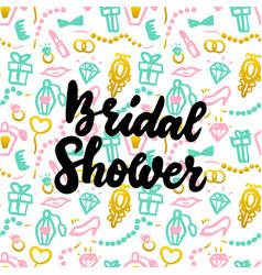 bridal shower handwritten postcard vector image