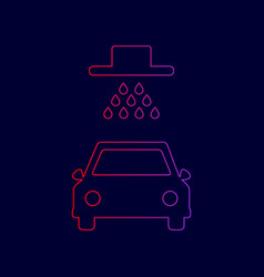car wash sign line icon with gradient vector image