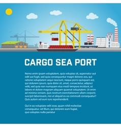 Cargo Sea Port Unloading of Containers from the vector image