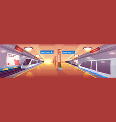 city subway station cartoon interior vector image