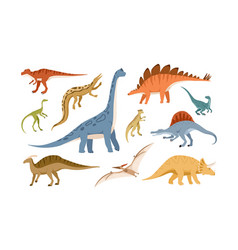 Collection dinosaurs and pterosaurs various vector