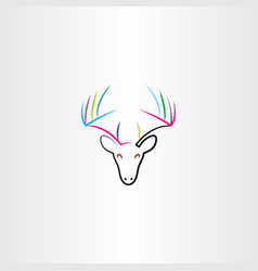 colorful deer icon drawing vector image