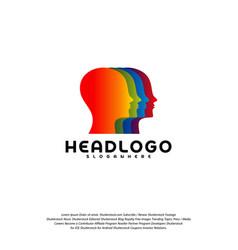 colorful mind logo head intelligence logo vector image