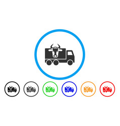 Cow transportation rounded icon vector