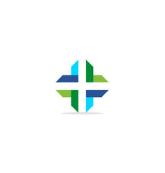 Cross shape line colored logo vector