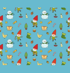 Cute cartoon gnomes new year s funny pattern vector