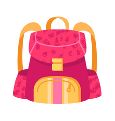cute small pink and yellow child backpack on white vector image