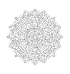 Decorative ethnic mandala outline isolates vector