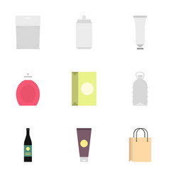 Diverse blank packages icons set flat style vector