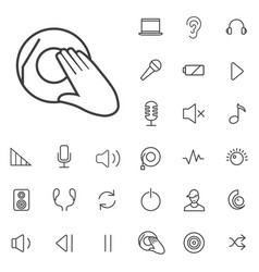 dj outline thin flat digital icon set vector image