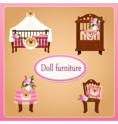 Dollhouse furniture for children room vector
