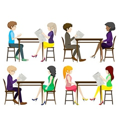 Faceless people discussing at the table vector