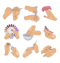 female manicure set fingernail care and cosmetics vector image