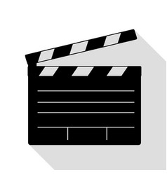 film clap board cinema sign black icon with flat vector image