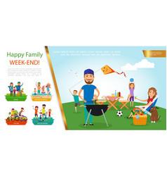 flat family outdoor recreation concept vector image