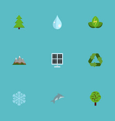 flat icons landscape water winter snow vector image