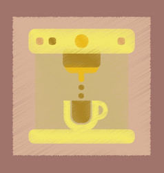 Flat shading style icon electronic coffee machine vector