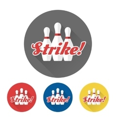 Flat skittles set and Strike sign vector