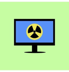 Flat style computer with virus icon vector image
