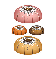 Four bundt cake topped with sugar glaze and sprink vector
